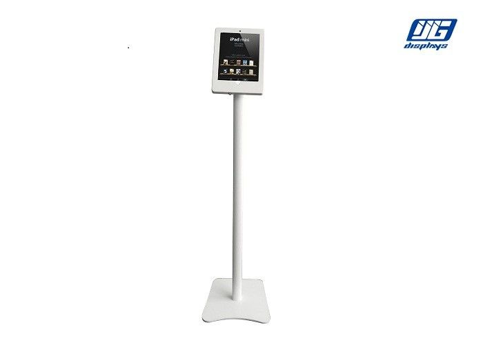 Adjustable IPad Display Stand Iron Base Lockable Frame White Straight Pole