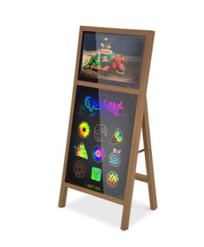 floor standing 21.5 Inch Indoor Digital Lcd Signage With Led Writing Board